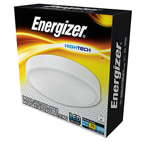 Energizer Motion Activated LED Bathroom Flush Ceiling Light Fitting with Microwave Sensor