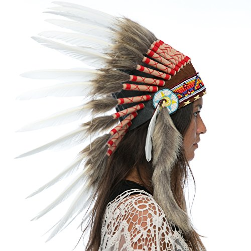 Feather Headdress- Native American Indian Inspired- Handmade by Artisan Halloween Costume for Men Women - Real Feathers - Classic White Duck