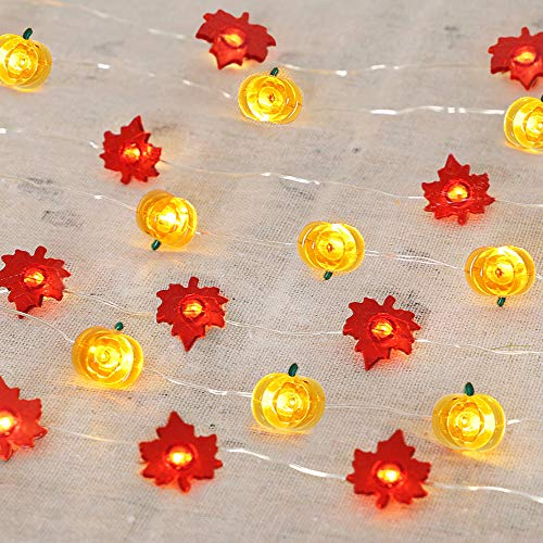 HOLICOLOR 40 LED Maple Leaves Fairy String Lights Orange Pumpkin String Lights 16.4ft Battery Operated Copper Wire Lights for Halloween Thanksgiving Harvest Decorations(2 Pack, Warm Lights) -