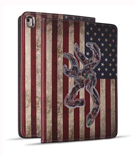 Camo Case Cover - iPad 9.7 2018/2017 Case, iPad Air 2, iPad Air, Pro 9.7 Case, Soft Rubber Back Cover, Protective Leather Case, Adjustable Stand Auto Wake/Sleep Smart Case for ipad 6th/5th Gen, Camo USA American Flag