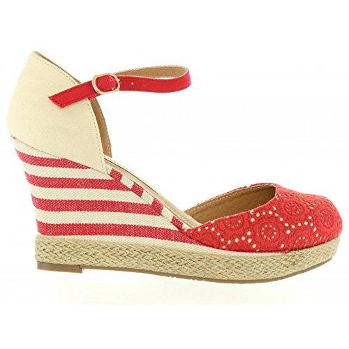 Chaussures compensées pour Femme MARIA MARE 65870 CALADO ROJO-CRUDO