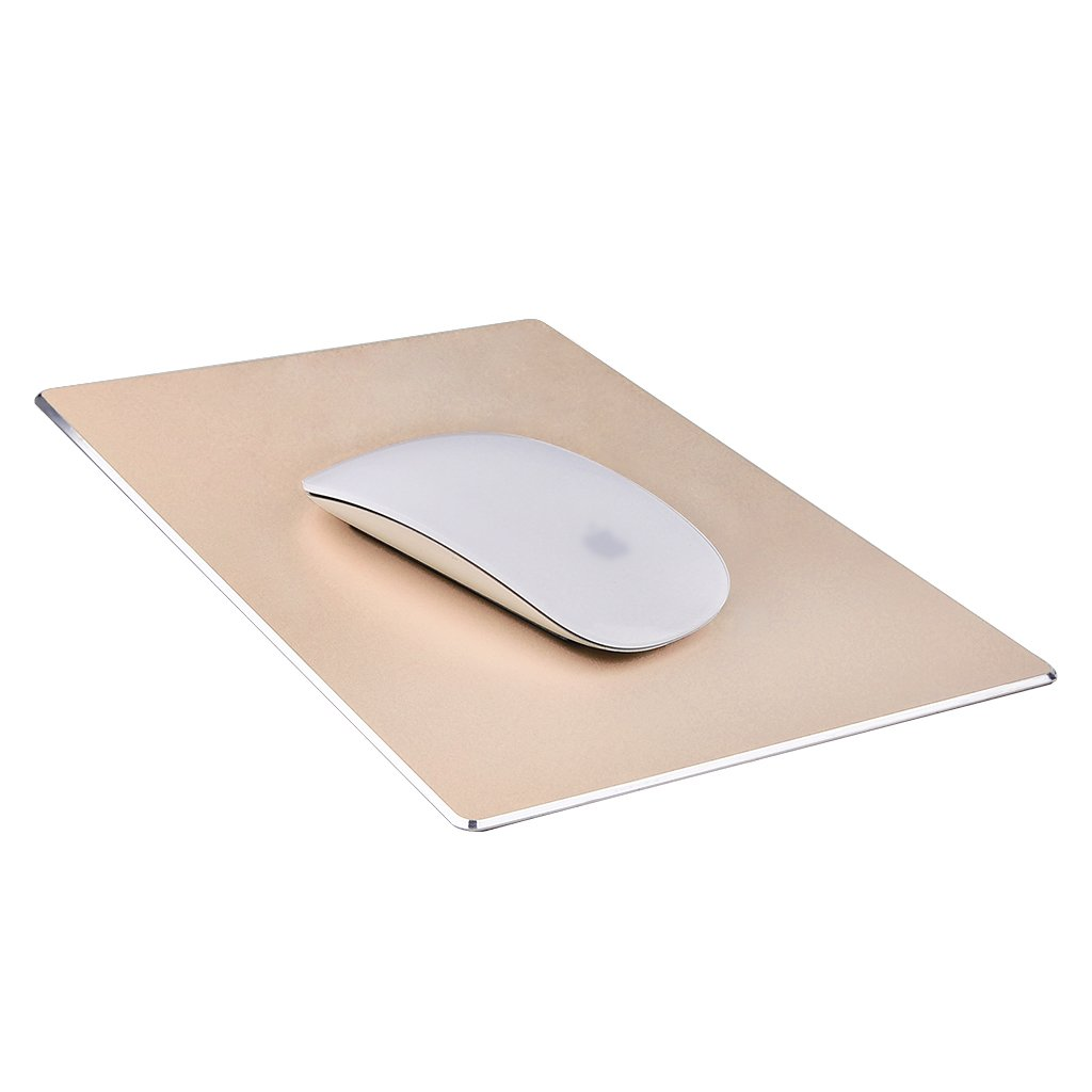 Mouse Pad, Qcute 9.18'' 6.11'' Gaming Aluminum Mouse Pad W Non-Slip Rubber Base & Micro Sand Blasting Aluminium Surface for Fast and Accurate Control(Gold)