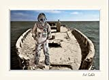 11 x 14 inch mat including photograph of ocean scene on old ghost cement ship with deep sea diver. surreal nautical seascape ocean boat scene.