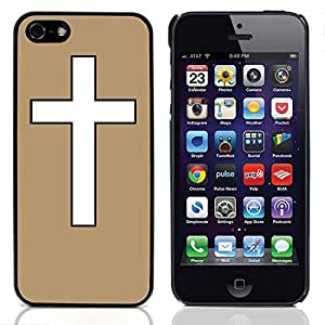 Graphic4You Cross Design Hard Case Cover for Apple iPhone 5 & 5S (Tan)