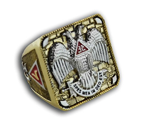 Masonic Rings for Men - Scottish Rite Freemason Ring / Thick Masonic Ring- 32nd Degree Scottish Rite Mason Symbol Logo with Gold Tone Band - Freemason Jewelry (Size 08)
