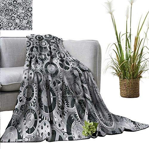 - XavieraDoherty Weighted Blanket Adult Clock,Realistic Look Cogwheels Mechanism Gear Engineering and Technologic Themed Pattern,Grey Silver Soft Fuzzy Cozy Lightweight Blankets 60