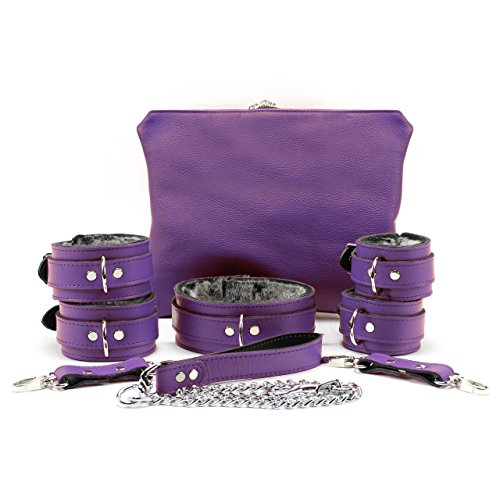 VP Leather 7 piece Set Collar, Lead, Wrist Cuffs, Ankle Cuffs (Purple) by VP Leather