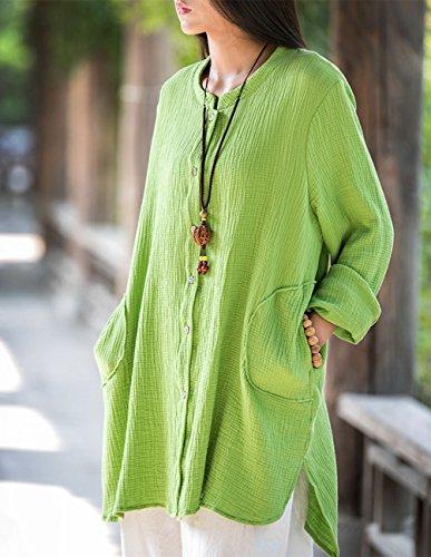 Poches Longues Et avec Large Cardigan Boutons Lin Chemise Casual Shirt Cherry Manches Happy Coton en na8vUw6wZ