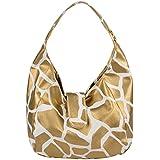 FASH Limited© Giraffe Print Hobo Style Handbag, Gold, One Size