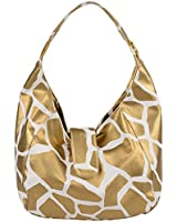 FASH Limited© Giraffe Print Hobo Style Handbag, Gold, One Size
