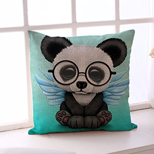 Aremazing Lovely Animals Panda Baby Wearing Glasses Cotton Linen Home Decor Pillowcase Throw Pillow Cushion Cover 18 x 18 Inches - Panda Glass