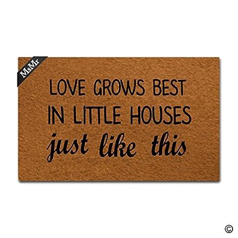 MsMr Doormat Entrance Floor Mat Funny Door Mat Love Grows Best In Little Houses Just Like This Non-slip Doormat 30 inch by 18 inch Non-woven - Love Door Mat