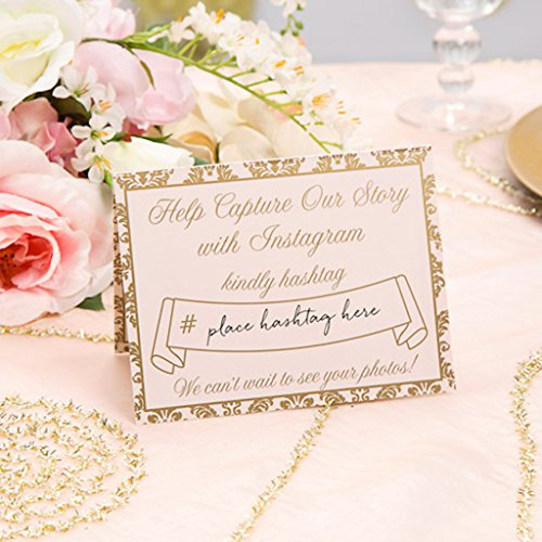 - Darice David Tutera, 24 Piece, Instagram Tent Cards, Gold, Ivory and Blush