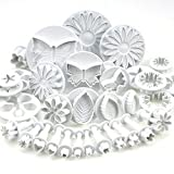 Elisona-10 Sets (33 Pcs) Plunger Cutters Sugarcraft Cake Decorating Equipment Kit Molds Tool Set(Heart, Veined Butterfly, Star, Daisy, Veined Rose Leaf ,Carnation, Blossom, Flower, Sunflower , Other)