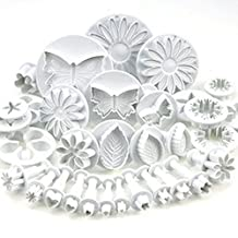 Elisona-10 Sets (33 Pcs) Plunger Cutters Sugarcraft Cake Decorating Equipment Kit Molds Tool Set(Heart, Veined Butterfly, Star, Daisy, Veined Rose Leaf ,Carnation, Blossom, Flower, Sunflower , Other)