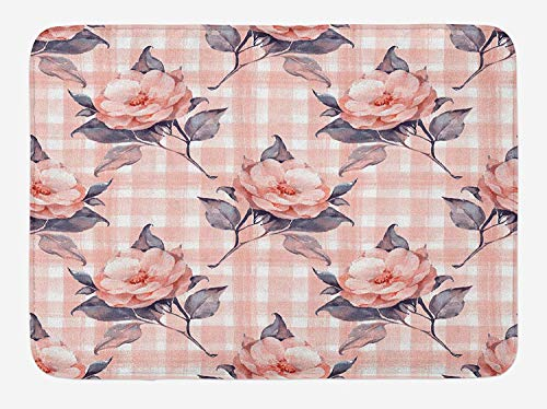 Dusty Rose Bath Mat, Pastel Checkered Striped Backdrop with Hand Painted Branches of Roses, Plush Bathroom Decor Mat with Non Slip Backing, 23.6 W X 15.7 W Inches, Dusty Rose Cadet Blue