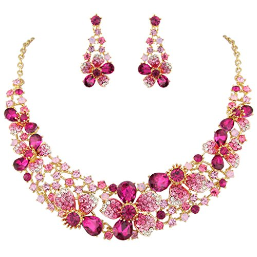 EVER FAITH Gold-Tone Austrian Crystal Hibiscus Flower Necklace Earrings Set Pink (Crystal Flower Austrian)