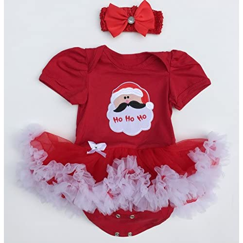 baby girl xmas outfit infant newborn my first christmas dress santa clothes 5pcs