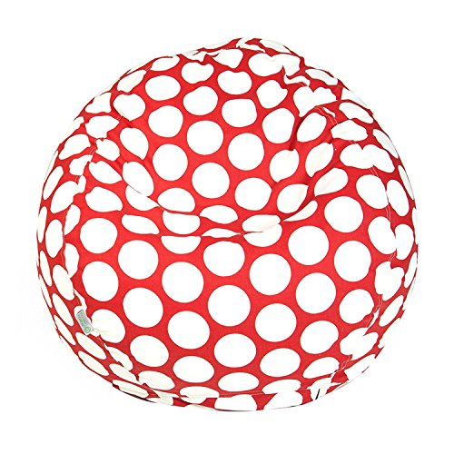 Majestic Home Goods Classic Bean Bag Chair - Large Polka Dots Giant Classic Bean Bags for Small Adults and Kids (28 x 28 x 22 Inches) (Hot Red) Bean Bag Red Twill
