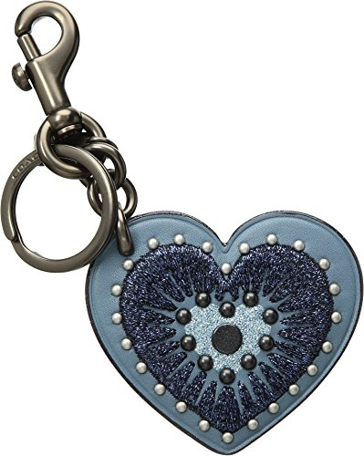 COACH Women's Heart Applique Bag Charm Bk/Chambray One Size -