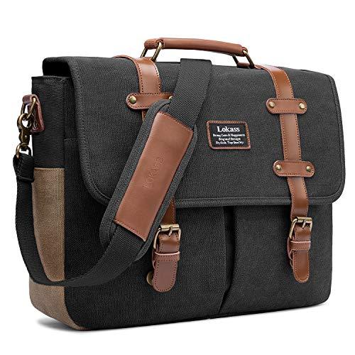 LOKASS Men Laptop Messenger Bag Vintage Genuine Leather Canvas Satchel 15.6 Inch Laptop Shoulder Bag Handbag Briefcase for Travel Work School (Black)