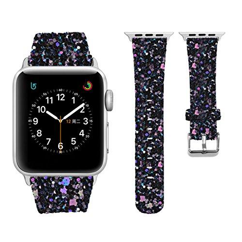iitee Christmas Shiny Glitter Power PU Leather Bling Luxury iWatch Band Wristwatch Bracelet Strap Belt for Apple Watch (Black, 38mm)
