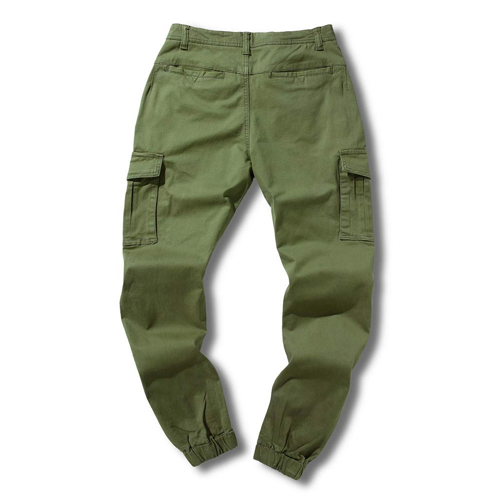 Palarn Casual Athletic Cargo Pants Clothes Mens Cool Summer Hot Leisure Pants Multi-Pocket Spring Overalls