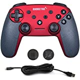 Switch Pro Controller Wireless Bluetooth Accessories - Compatible with Nintendo Switch Console (Red) | PC Gamepad Joypad Remote with Gyro Axis (Turbo Buttons) by EVORETRO