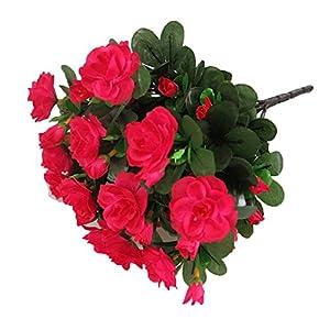Lopkey Silk Artificial Azalea Bush Flower,Rose Red 45