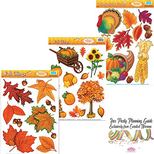 Curated Nirvana Autumn & Thanksgiving Holiday Window Clings | Seasonal Static Decals Featuring Fall Leaves and Acorns, Harvest Time Pumpkins, Indian Corn, Turkey, Cornucopia and More - 33 Total]()
