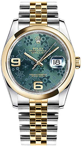 Womens Rolex Datejust 36 Green Floral Dial Luxury Watch Ref. 116203