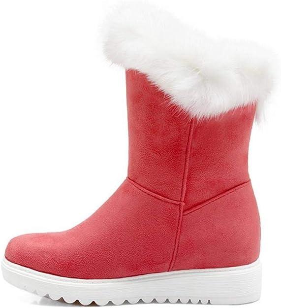 Hoxekle Women Mid Calf High Heel Boots Bowtie Platform Slip On Round Toe Boots Warm Shoes Winter Snow Woman Footwears