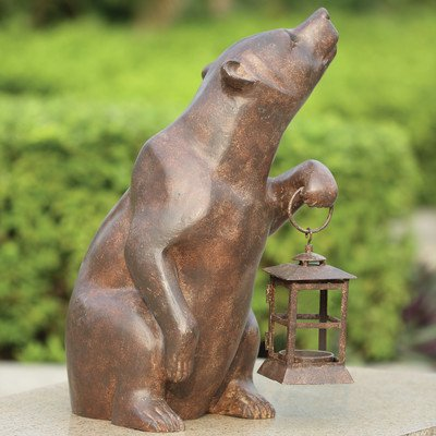 SPI Home 32435 Bear with Lantern Sculpture by SPI Home
