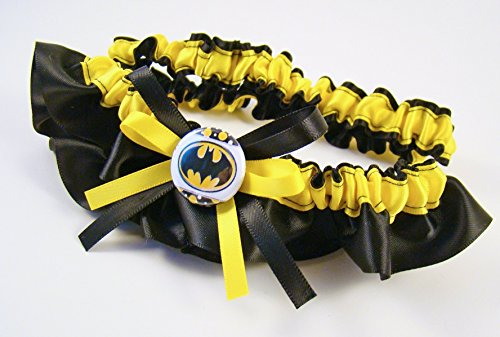 SEXY Superhero Character Inspired Black & Yellow Bridal Satin Wedding Keepsake Or Garter ()