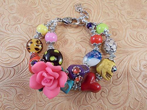 Chunky Day of the Dead Bracelet - Howlite - Swarovski Crystal Sugar Skulls - Lampwork Beads No 219