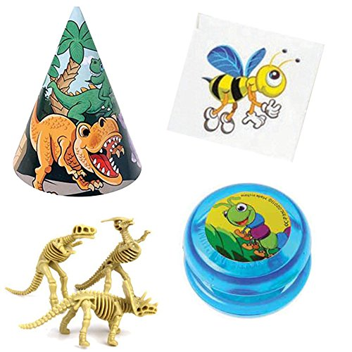 ajpsales-dinosaur-skeletons-and-insect-tattoos-party-pack-12-dinosaur-toy-figures-12-dino-party-hats