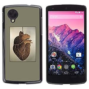 Be Good Phone Accessory // Dura Cáscara cubierta Protectora Caso Carcasa Funda de Protección para LG Google Nexus 5 D820 D821 // Heart Anatomy Human Drawing Art Painting