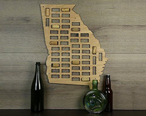 Wooden Shoe Designs Georgia Wine Cork Map, Tan