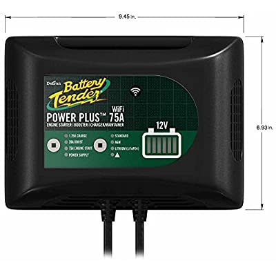 Battery Tender 75 Amp Engine Start Battery Charger: 12V, 20 AMP Booster, Car Battery Jump Starter, Booster, and Charger and Maintainer with Power Supply and Integrated Wi-Fi - 022-0227-DL-WH: Automotive