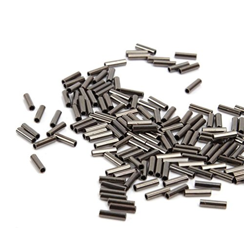 JSHANMEI Single Barrel Crimp Sleeves, 100% Copper, Fishing Line Leader Rigging Tackle Wire Rope Clips Tube Connector 100pcs 0.6mm -