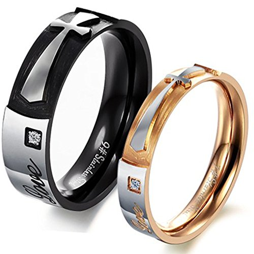 Mens Womens Black Rose Gold Stainless Steel Engrave True Love Cross Couples Ring Promise Band CZ Inlay