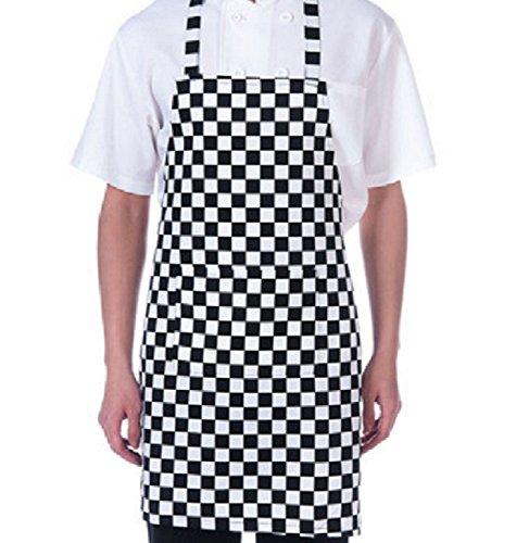 Apron Unisex Waiter Waitress Restaurant Bistro Cafe Craftsmen Checkered Bib Apron with Two Front Pockets (32