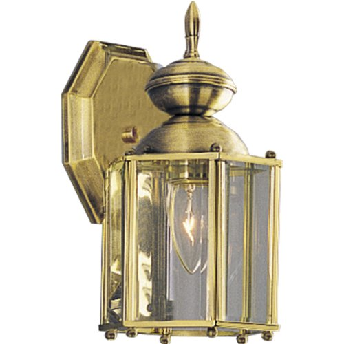 Wall Light Beveled (Progress Lighting P5756-10 Wall Lantern with Beveled Glass Panels Open Bottom, Polished Brass)