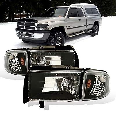 AmeriLite for 1994-2001 Dodge Ram 1500/1994-2002 Dodge Ram 2500 3500 Black OE Style Halogen Headlights Assembly Replacement w/Corner Lights Set - Passenger and Driver Side: Automotive
