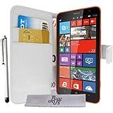 Etui Housse ExtraSlim Vitre Tactile Microsoft Lumia 1320 - Blanc + STYLET et 3 FILMS OFFERTS!