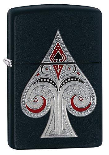 Zippo Spade Pocket Lighter with Emblem, Matte Black by Zippo