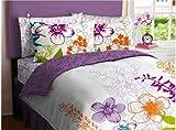 Morado, verde, naranja y blanco edredón tamaño Queen juego de niñas de flores (7 piezas conjuntos de cama en bolsa)