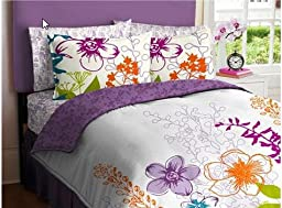 Purple, Green, Orange & White Girls Multi Flower Twin Comforter Set (5 Piece Bed In A Bag)