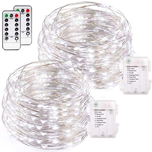 buways 2 Pack 75 LED 24.6ft Battery Operated Fairy String Lights with Remote, Waterproof 8 Modes Silver Wire Firefly Lights for Wedding Christmas Party Bedroom Indoor Outdoor Decor (Cool White)