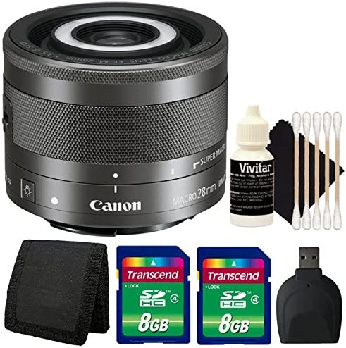 Canon EF-M 28mm f//3.5 Macro IS STM Lens with Accessories for Canon EOS M Series Mirrorless Cameras